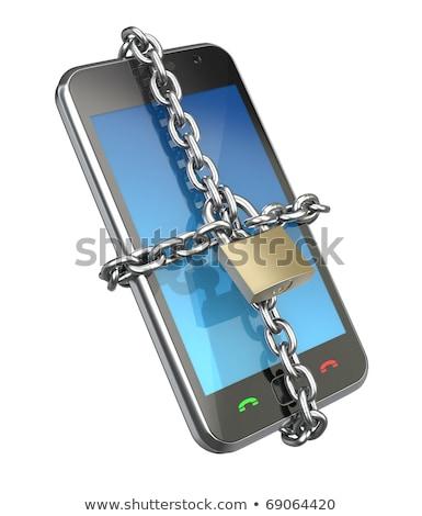 Smartphone catena lock bloccato gadget isolato Foto d'archivio © studiostoks