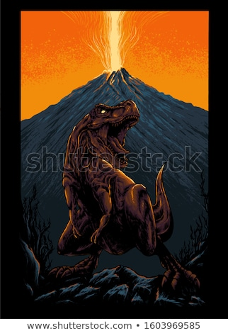 zangado · desenho · animado · vulcão · cara · olhos · natureza - foto stock © lenm