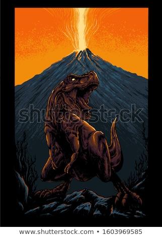 Mascotte vulkaan uitbarsting illustratie boos lava Stockfoto © lenm