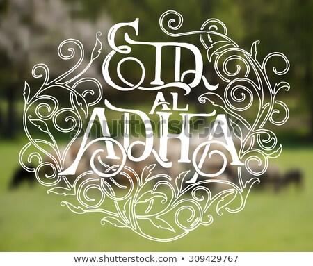 Beautiful Eid al Adha Mubarak Typography text vector template design Stock photo © SaqibStudio