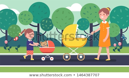 the little girl in a park with a stroller and bear stock photo © sharpner