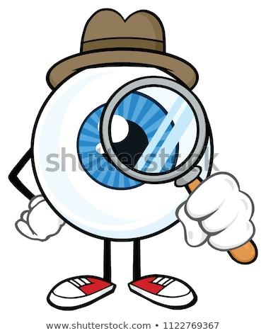 Stock fotó: Eyeball Cartoon Mascot Character With A Magnifying Glass