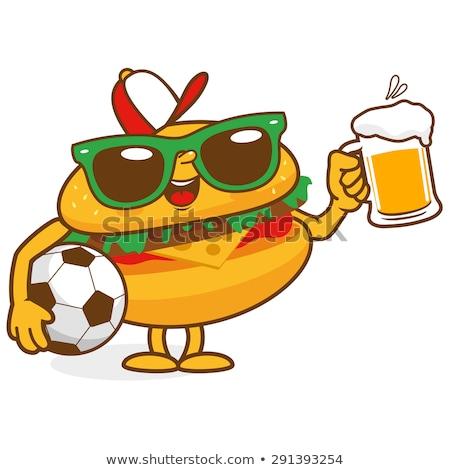 Futbol topu karikatür maskot karakter bira cam Stok fotoğraf © hittoon