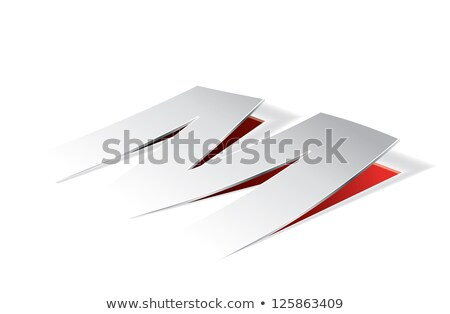 Red Folded Paper Letter M Vector Illustration Stock photo © cidepix