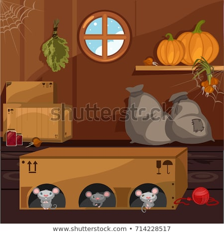 inside the old farmhouse the home furnishings mouse in a box arranged holes vector cartoon close  stock photo © lady-luck