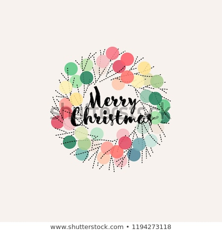 Card with pastel colored pom poms and Merry Christmas greetings Stock photo © isveta