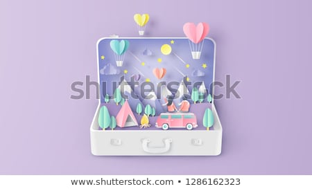 Valentine s Day illustration. Air balloon, cloud, star, mountain stock photo © rwgusev
