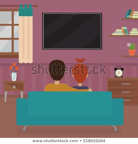Cartoon flatscreen tv knuffel illustratie televisie Stockfoto © cthoman