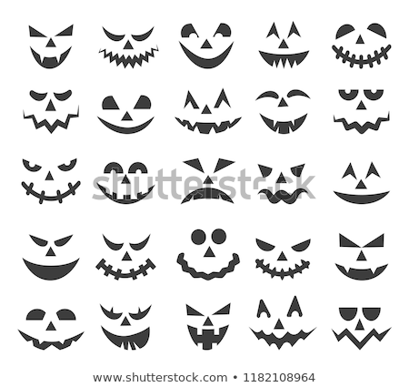 vector set with carved halloween pumpkin faces templates stock photo © pravokrugulnik
