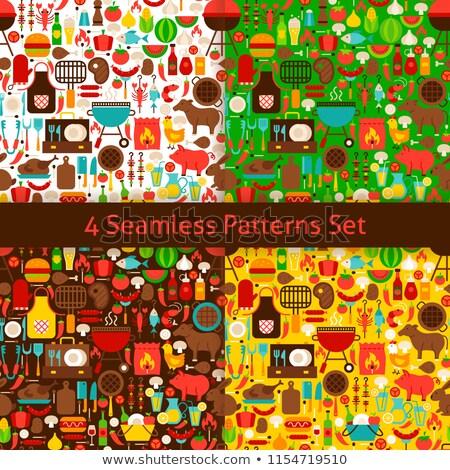 Four Flat Barbecue Patterns Set Stock photo © Anna_leni