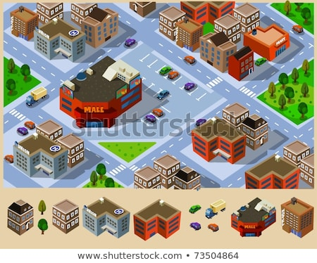 vector isometric supermarket car parking lot stock photo © tele52