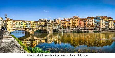 florence cityscape and arno river sunset view stock photo © xbrchx