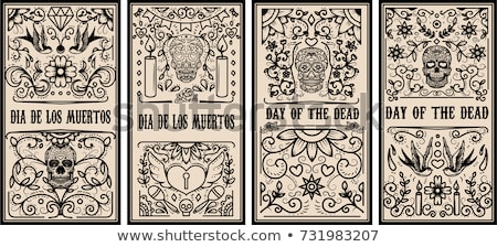 Day of the dead sugar skull typography banner Stock photo © cienpies