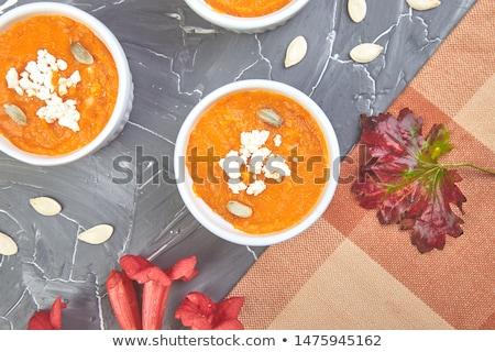 crème · citrouille · soupe · action · de · grâces · jour · bleu - photo stock © Illia