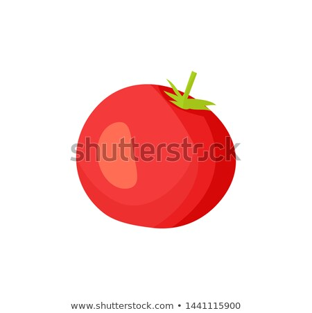Cartoon Uncut Fleshy Red Tomato with Green Leaf Stock photo © robuart