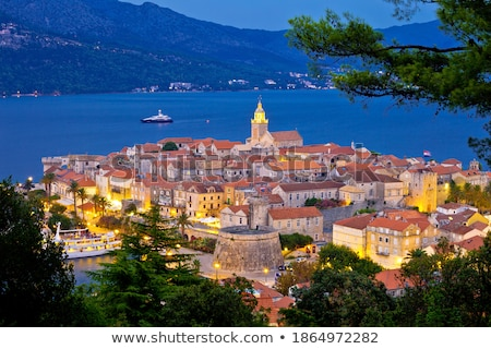 Town of Dubrovnik archipelago evening view from above Stock photo © xbrchx