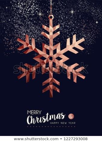 karácsony · új · év · réz · hó · üdvözlőlap · vidám - stock fotó © cienpies