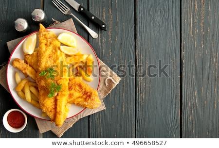 Hal sültkrumpli hagyományos leharcolt tányér fa asztal Stock fotó © unikpix
