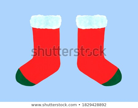Christmas red sock with white fur and gifts. Watercolor illustration. Isolated. Stock photo © Natalia_1947