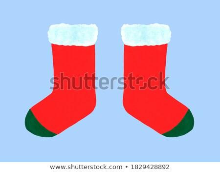 Noel kırmızı çorap beyaz kürk hediyeler Stok fotoğraf © Natalia_1947