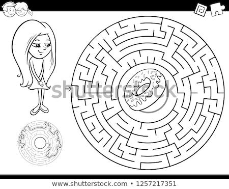 Labirintus szín könyv lány fánk feketefehér Stock fotó © izakowski