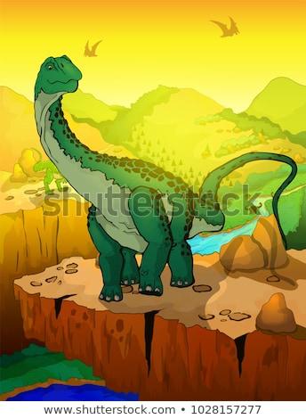 наклейку шаблон динозавр фон тропические белый Сток-фото © colematt