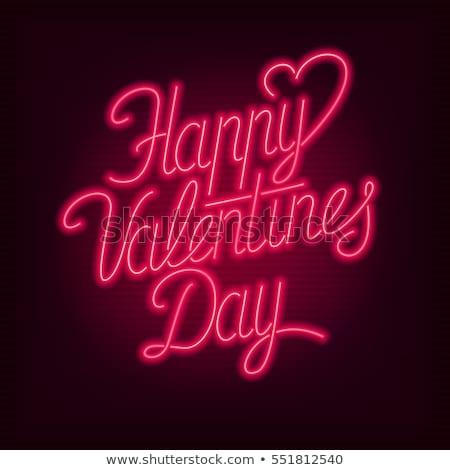 Boldog valentin nap neon címke románc promóció Stock fotó © Anna_leni