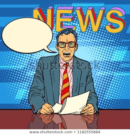 Male news anchor says comic book bubble Stock photo © rogistok