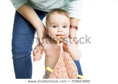 baby walk under a towel. Age of 10 months. It is isolated on a white background Stock photo © Lopolo