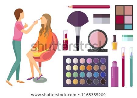 Rosto make-up cliente mulher paleta conjunto Foto stock © robuart