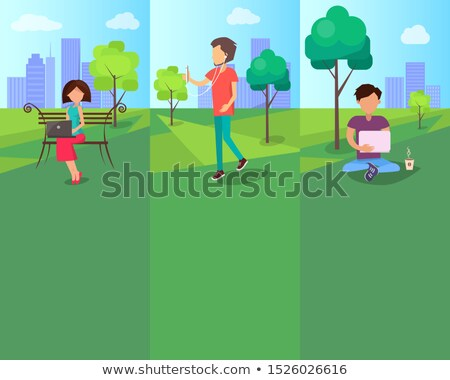 Free Wi-Fi in Urban Park with People Working Stock photo © robuart