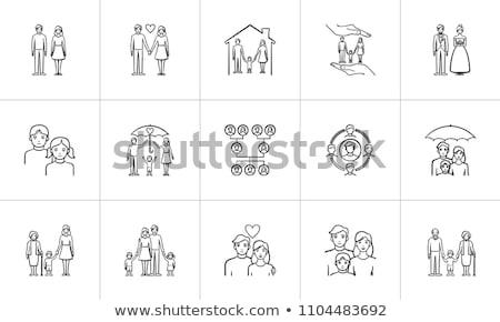 house with couple hand drawn outline doodle icon stock photo © rastudio