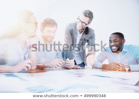 Business Meeting of Office Workers Staff Poster Stock photo © robuart