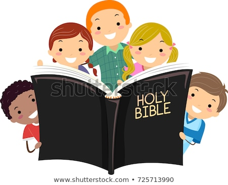 Stickman Kids Holy Bible Illustration Stock photo © lenm