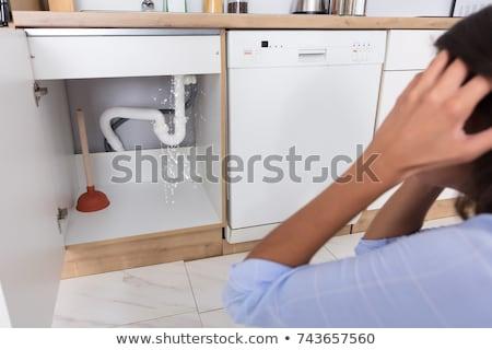 水 · ダメージ · キッチンのインテリア · キッチン · 乾式壁 · 引き裂か - ストックフォト © andreypopov