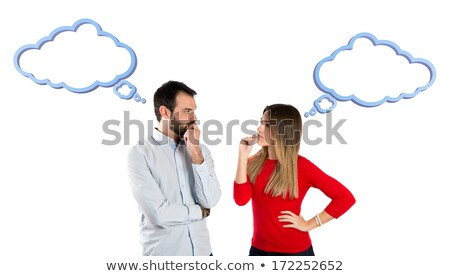 Young couple with speech balloon Stock photo © colematt