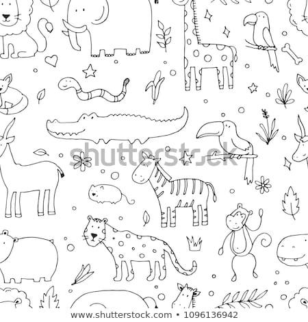 állat firka skicc aranyos zsiráf illusztráció Stock fotó © colematt