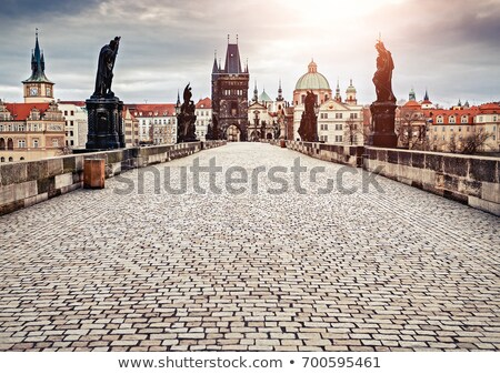 Ponte all'alba noto Praga cielo costruzione Foto d'archivio © Givaga