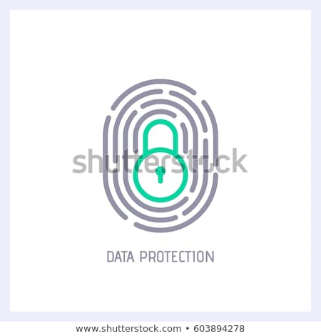 Fingerprint icon with lock sign. Concept of personal data protection. App security. Flat vector icon Stock photo © kyryloff