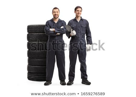 Naprawa samochodów zespołu mechanik pracowników naprawy Zdjęcia stock © netkov1