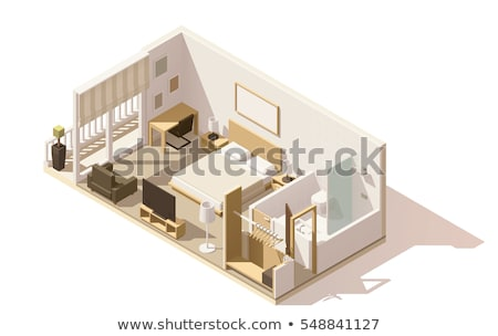 Stock photo: Vector isometric hotel room cross-section
