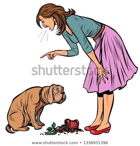 Woman scolds guilty dog. Broken pot with flower Stock photo © studiostoks