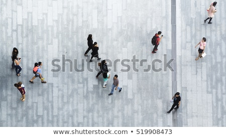 Crowd of people with umbrellas Stock photo © 5xinc