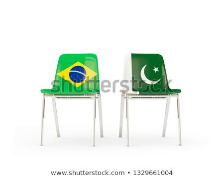 Dois cadeiras bandeiras Brasil Paquistão isolado Foto stock © MikhailMishchenko