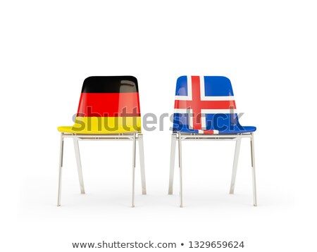 Two chairs with flags of Germany and iceland Stock photo © MikhailMishchenko