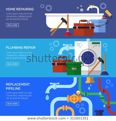 Conjunto horizontal banners encanamento encanador reparar Foto stock © netkov1