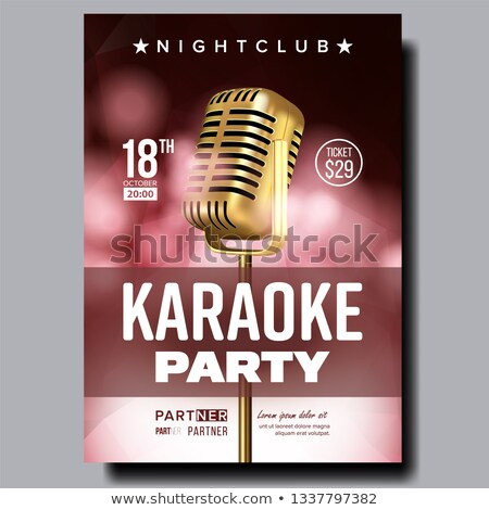 Karaoke Poster Vector. Dance Karaoke Music Event. Technology Symbol. Festival Concept. Live Singer.  Stock photo © pikepicture