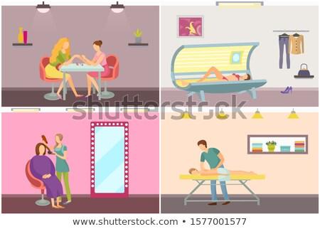 spa · salon · kapper · ingesteld · vector · geïsoleerd - stockfoto © robuart