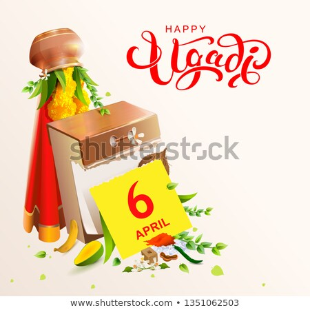 Happy Ugadi text and calendar 2019 april 6 indian holiday Stock photo © orensila