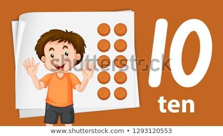 Ragazzo numero dieci mano kid cartoon Foto d'archivio © colematt